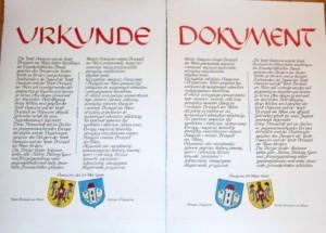 Urkunde Breisach Verschwisterung Polen (1)